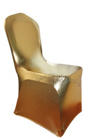 Wedding Chair Spandex / Polyester wedding decoration High Quality 100PCS gold New Spandex Lycra Chair Covers for Wedding Party Hotels Decorations(no arch)