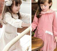 TuTu Spring / Autumn Pleated Korean Brand Children Clothing Best Quality Pure Cotton Long Sleeve Girls Princess Dress Pink And Beign Colour Kids Dresses QZ15