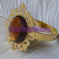 Cheap Tracking Number-Brown Color Gem Wedding Favors Gold Plated Napkin Rings Wedding Bridal Supplies-Free Shipping