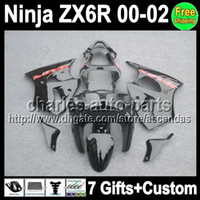 7gifts Custom For KAWASAKI NINJA ZX6R 00- 02 ZX 6R ALL black ...