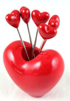 Wholesale 5pcs set Creative Red Heart Style Snack Fork Fruit Fork Ornament Decoration