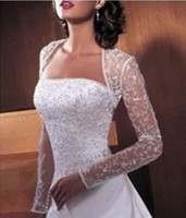 Jacket Lace Long Sleeves 2013high collar sexy see-through appliques beading long sleeves wedding dress bridal jacket wraps DH32
