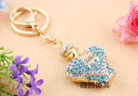 Wholesale Crystal Keyring Shell Car Key Chain Diamond Plated Handbag Accessories New Arrival DHL