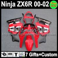 venda por atacado 2001 kawasaki zx6r fairings-fábrica 7Gifts vermelho feito sob encomenda para KAWASAKI NINJA ZX6R 00-02 ZX 6R ZX-6R Q7465 ZX 6R 636 ZX636 preto vermelho ZX-636 00 01 02 2000 2001 2002 Fairing