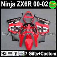 factory red 7gifts Custom For KAWASAKI NINJA ZX6R 00- 02 ZX 6...