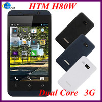 Wholesale 3G Dual Core android cell phone HTM H80W MTK6572 inch Screen MP Camera Android WCDMA smart cell phone g mobile