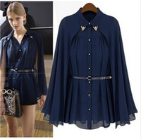 Ponchos apricot design - 2015 New Women s High Street Famous Casual Brand Cape Style Design Single breasted Chiffon Blouse Navy Apricot With Belt