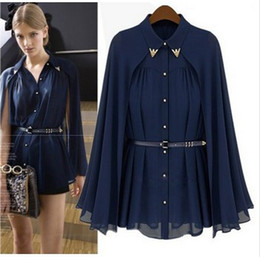 Wholesale 2013 New Women s High Street Famous Casual Brand Cape Style Design Single breasted Chiffon Blouse Navy Apricot With Belt