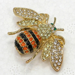 12pcs lot Wholesale Crystal Rhinestone Bee Brooch pin Fashion Brooches Jewelry gift Accessories C2158