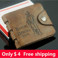 Wallets Men Cowhide BaiLini hunter leather fashion men's retro leather Wallets Card & ID Holders Free shipping