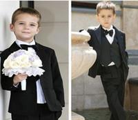 Acheter Chemises habillées ensemble cravate-Solide garçons noirs Costumes de mariage formel costume Parti Tuxedo Groom Veste + Pantalon + noeud papillon / cravate + gilet + chemise habit 5 pcs fixé 5sets / lot # 3465