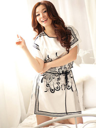 Wholesale Classic White Floral Print Silk Like Woman s Pajamas lace dress u7 pWW