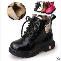 Winter Fashion Boots Ankle Free shipping han edition model of the new winter children Martin boots bright paint boys girls shoes to keep warm boots