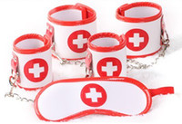 adult nurse - Female Nurse Cosplay in PU Bondage Kit Eye Mask Handcuffs Footcuffs Hand Foot Cuffs BDSM Sex Toys Adult Products for her