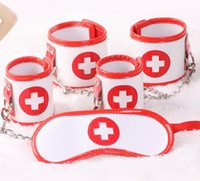Wholesale Female Nurse Cosplay in PU Bondage Kit Blind Hoods Eye Mask Handcuffs Hand Wrist Cuffs Foot Ankle Leg Cuffs BDSM Adult Sex Toys Products