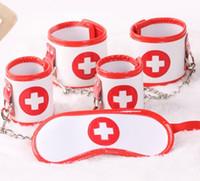 Wholesale Female Nurse Cosplay in PU Bondage Kit Blind Hoods Eye Mask Handcuffs Hand Wrist Cuffs Foot Ankle Leg Cuffs BDSM Adult Sex Toys Products