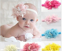 Flower Headbands New Year Wholesale - Beautiful Big Flower Headband Hairband Peal Baby Girls Flowers Headbands Kids' Hair Accessories Baby Christmas Gift 12PCS LOT Fr