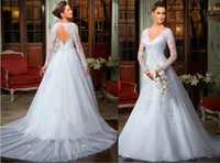 Wholesale 2014 Best selling A Line Backless Wedding Dresses Long Sleeves V Neckline Sheath Lace Mermaid Court Train Tulle Appliqued Wedding Gowns