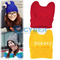 Wholesale Holiday Sale Fashion Women s Girl Cute Cat s Ear Knitted Hat Cap Winter Hat Cap