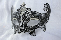 Wholesale pc Handmade Half face Plain Black Metal with Crystals Women s Venetian Masquerade Party Masks