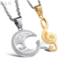 Wholesale Fashion jewelry floating charms Men Women Music Treble Clef Gold Silver Crystal Stainless Steel Couple Pendant Chain Necklace