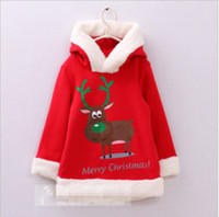 Wholesale Children s wear Christmas with long hooded jacket Christmas men s and women s children s wear warm coat