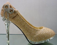 Wholesale 1 pair Hot selling Golden fashion women s high heeled shoes Elegant bridal shoes Wedding shoes Size