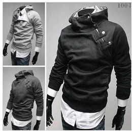 Wholesale Men s Collar Buckle Court Oblique Zipper Hooded Thick Fleece Clothes