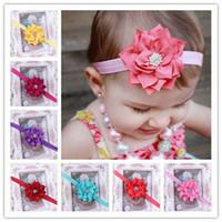 Wholesale Baby Flower Headbands Girl Elastic Headbands With Rhinestone Handmade Children Hair Accessories CZ Diamond Hairbands Kids Hair Ornaments