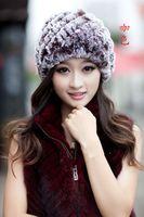 Wholesale Fashion New fur hat rabbit fur hat knitted fur hat rex rabbit hair fur cap female autumn and winter hat