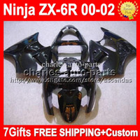 Wholesale 7gifts Free Customized For all gloss black KAWASAKI ZX R ZX6R NINJA Q772 ZX R all black ZX636 ZX Fairings
