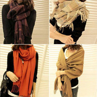 Cheap Women's autumn and winter women's cashmere yarn muffler scarf air conditioning cape dual-use ultra long plaid scarf