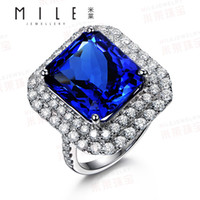 Wholesale Class A kt Natural Tanzanite Ring K White Gold Diamond Ring female colored gemstone jewelry