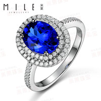 Solitaire Ring tanzanite ring - Mile Class A kt jewelry Tanzanite Ring K diamond ring female genuine colored gemstones