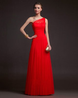Reference Images Ruched Sleeveless 2014 New Arrival A Line One Shoulder Zipper Back With Ruched Upper Part Red Long Tulle Formal Bridesmaid Dresses