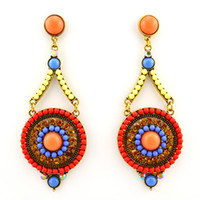 Wholesale ER new blue color cm long big chandelier vintage plastic crystal earrings fashion jewelry