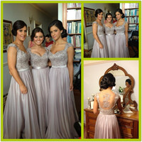 Wholesale 2014 New Silver Grey Bridesmaid Dresses Long Chiffon Bridesmaid Dress Appliques Sheer Back Short Sleeves Evening Gowns Bridesmaids Dresses