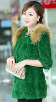 Wholesale 2013 Hot Sale Woman Knitted Rabbit Fur Vest With Raccoon Fur Collar Giletwaist warm coat