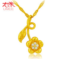 Cheap Right m new five-leaf flower jewelry inlaid zirconia diamond pendant necklace gold plated to send his girlfriend a gift Tanabata