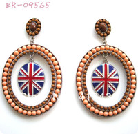 Wholesale 2013 New Hot Sell Vintage Hoop Earrings Jewelry two colors with enamel GB Great Britain british Flag and round beads