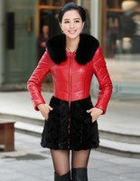 Wholesale 2014 fox collars sheep skin water spelling a mink grass long coat winter clothing leather female overcoat