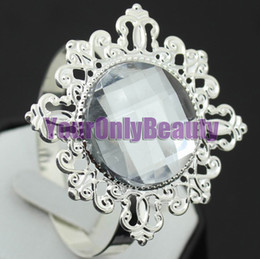 Wholesale Lowest price Freeship high quality White Gem Napkin Ring Wedding Bridal Shower FavorLowest price
