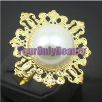 Wholesale Tracking Number Ivory Pearl Wedding Favors Napkin Rings Wedding Bridal Decoration