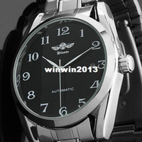 2013 Brand New Mens Black Date Acier inoxydable Automatique Date Self-Wing Up Mechanical Watch
