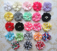 Wholesale 23colors Hair Accessories New Chiffon Flowers with pearls and rhinestones Fabric Flowers for Baby headbands Hair bows