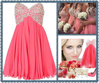 Wholesale 2014 Trendy Short Coral Bridesmaid Dresses A Line Strapless Sweetheart Embroidered Beads Junior Bridesmaid Dresses Mini Corset Prom Dresses