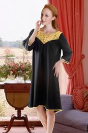 Wholesale Hot Selling Womens Comfortable Pajama Spring Autumn Half Sleeves Long Satin Robe Sleepwear Lady Sexy Black Nightgowns N0233