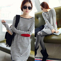 Wholesale Maternity clothing sweatshirt Blue and White Stripe Patch T shirt for Nursing maternity wear Spring Autumn
