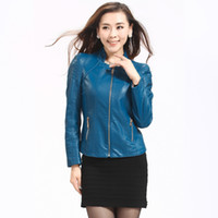 Wholesale 2013 autumn women s motorcycle PU clothing women s short design slim coat stand collar jacket leather