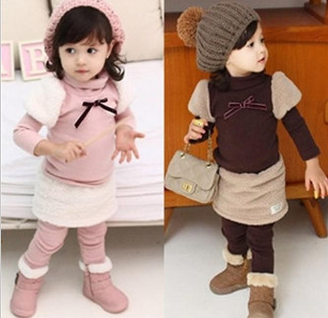 Buy Factory Sale Children Clothing Fall Winter Thicken Keep Warm Coral Fleece Girls Princess Set Sweatshirt Skirt Pants Kids Suit QZ158